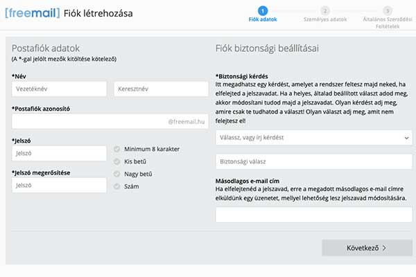 Freemail regisztrácio